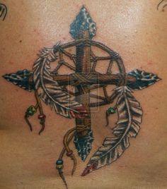 native american cross Tattoos | dream catcher medicine wheel cross combo by Crazy-TattsI don't think ...