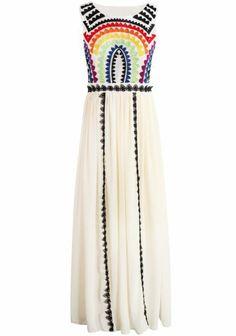 Apricot Sleeveless Embroidered Pleated Chiffon Dress