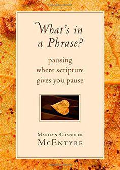 What's in a Phrase?: Pausing Where Scripture Gives You Pause: Marilyn Chandler McEntyre: 9780802871145: Amazon.com: Books