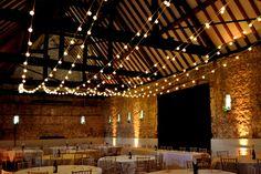 Rustic Wedding Festoon Lights at Monks' Barn, Berkshire