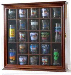 Shot Gl Display Case Wall Cabinet Shadow Box With Door Walnut Finish Sc01