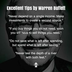 Great tips by Warren Buffet Business Motivation, Business Quotes, Business Tips, Quotes To Live By, Life Quotes, Boss Quotes, Quotes Quotes, Financial Quotes, Financial Peace