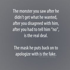 Maybe he got fed up with repeats d unprovoked verbal assaults from his Narcissist Spouse? Narcissistic Behavior, Narcissistic Abuse Recovery, Narcissistic Sociopath, Narcissistic Personality Disorder, Quotes To Live By, Me Quotes, Emotional Abuse, Toxic Relationships, Relationship Quotes