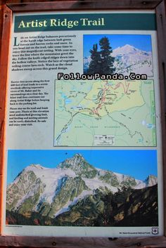 Artist Ridge Trail Info Sign - Mt. Baker-Snoqualmie National Forest - Heather Meadows, Whatcom County, Washington, United States | FollowPan...