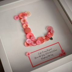 Personalised Button Letter Framed Picture A gorgeous personalised gift idea for…
