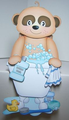3D On the Shelf Card Kit - Bathtub Buddies - Cute Little Baby Meerkat Alexis has a Bubble Bath by Katie Silver