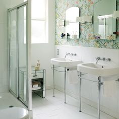 Lovely Bathroom with Wallpaper, originally uploaded by Amber Furst? Nice double sinks and mirrors. In my home, I'd pair this double duo with antique tiles and fixtures. Is that a modern toilet or part of a bathtub on the left?