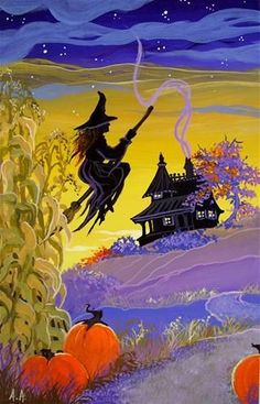 home in time for dinner~Storybook Cottage Halloween by Alida Akers