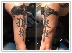 Raven with katana, wolf and demon sign