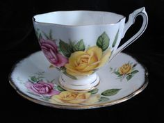 1950 Queen Anne bone china teacup and saucer by 12RedChairs, $14.00