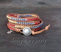 Leather Wrap Bracelet For Women , Seed Bead Leather Wrap Bracelet, Leather Wrap Bracelet, Womens Leather Bracelet, Mens Leather Bracelet by hodgepodgecandles on Etsy Beaded Leather Wraps, Leather Cord, Leather Men, Wrap Bracelets, Leather Bracelets, Bohemian Jewelry, Beaded Jewelry, Unique Jewelry, Anklets