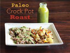 Paleo Crock Pot Roast with a Sugar Free Sauce - Chimichurri! - MyNaturalFamily.com #paleo #roast #chimichurri #recipe