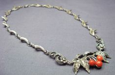 Art Deco Silver & Natural Red Salmon Coral & Marcasite Articulated Necklace