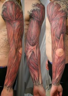 This man needs to see a doctor! Oh, wait, our bad, that's actually an amazing tattoo, not a horrific injury.