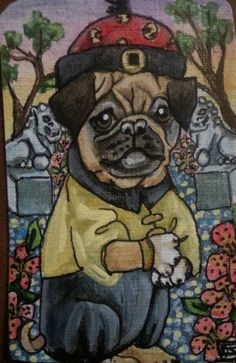 Pug Dynasty One of a Kind Acrylic Asian Inspired Chinese Emperor Dog Painting Art Signed $25