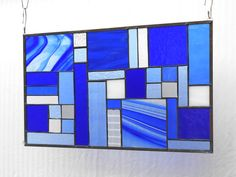 Stained Glass Panel, Glass Window Valance or Transom Window Treatment in Shades of Blue, OOAK Handmade Patchwork Quilt Glass Art Home Decor