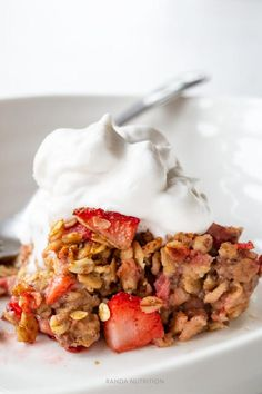 There is nothing I like more in the summer that strawberry rhubarb recipes. I wanted to expand on the well-loved pie and explore more options with this flavor combination. This strawberry rhubarb baked oatmeal recipe is my new favorite way to start the day and one of my favorite healthy breakfast ideas.  Save time by making it at the beginning of the week of a healthy meal prep recipe. Portion it out and serve it. Don't forget to top it with Coco Whip!