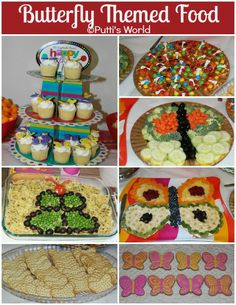 """Butterfly themed foods -celebrate Spring with a """"Butterfly Day"""" discussion group can learn all about the different butterflies, in crafts make a tissue paper butterfly, exercise to songs with butterfly in the title like """"butterfly kisses"""" and then have a butterfly social using these great food ideas!"""