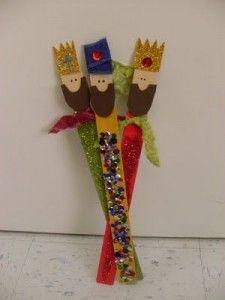 Cómo hacer tres Reyes Magos con palos de helado  #diy #crafts #Navidad #Nöel