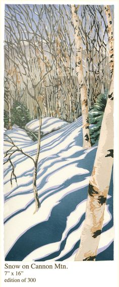 Matt Brown Woodblock Prints - Snow on Cannon Mtn - saw this artist in NC at the Grovepark Inn -