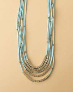 Adrift Necklace, Turquoise, India, Suede, Mixed Metal Beads, Magnetic Clasp, Fair Trade, Jewelry, Handmade, Noonday Collection.