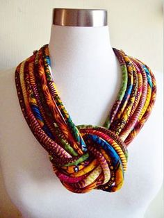 African Fabric Knotted Tribal Necklace by par paintedthreads2