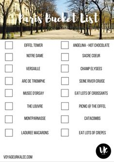 Paris Bucket List