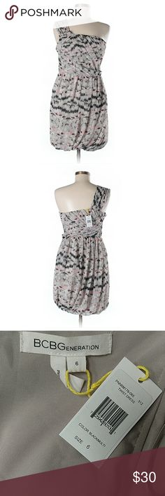 "BCBG One Shoulder Twist Dress NWT. 30"" chest, 29"" long. A-line silhouette, fully lined, confetti print. All pictures are of the actual item you will receive. Smoke-free home. BCBGeneration Dresses One Shoulder"