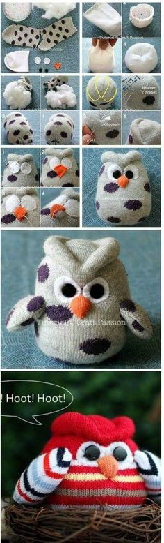 This Sock Owl Craft is perfect for beginners and we have . - Baby - This Sock Owl Craft is perfect for beginners and we have … have - Sock Crafts, Cute Crafts, Crafts To Make, Fabric Crafts, Easy Crafts, Sewing Crafts, Sewing Projects, Creative Crafts, Sewing Hacks