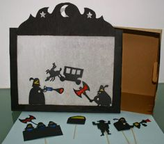 DIY: fem un teatre d'ombres New Year's Crafts, Book Crafts, Movie Night Basket, Shadow Theatre, Puppets For Kids, Papier Diy, Paper Puppets, Shadow Art, Three Little Pigs