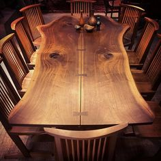 "99 Likes, 9 Comments - Andy Johnson (@andyjohnson) on Instagram: ""Nakashima for 10. #nakashima #table #chairs #conoid #walnut #wood #woodwork #bookmatch #liveedge…"""