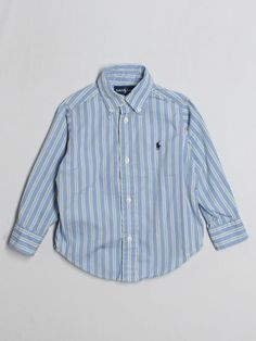 Toddler boy ralph lauren polo blue striped dress button down l s shirt