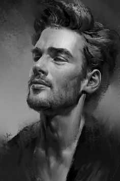 """Practice"" - Ivan 小红花 {figurative art male head bearded man face portrait monochrome digital painting}"