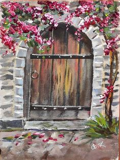 """On Ginger Cook Live tonight on YouTube we painted an old door, and aged it using a dry brush technique. Then we added a flowering vine and added """"Liquitex High Gloss Texture Gel"""" to the flowers for an impasto effect. Great group tonight and great fun."""