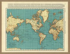 Vintage map World from 1936 Antique 1930s placesintimemaps