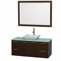 48 in. Wall Mounted Vanity Set Includes mirror, drain assemblies and P-traps for easy assembly. Faucet not included. Modern clean lines. Eight stage preparation. Veneering and finishing process.