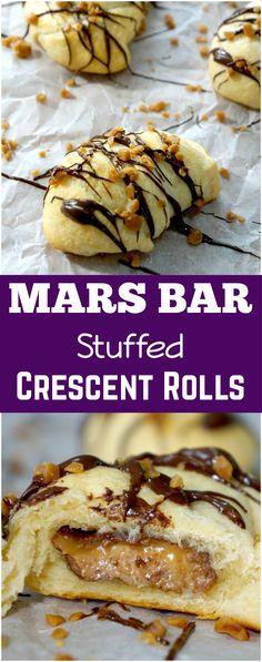 Mars Bar Stuffed Crescent Rolls. Easy dessert recipe using Pillsbury crescent rolls and snack sized Mars bars.