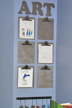 pics of playroom decor | Kids Art Wall - Idea for Kids Art Display