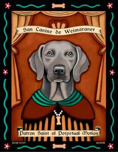 Weimaraner – Blue Eyes – Dog Print – Artwork Made in USA – Patron Saint of Perpetual Motion
