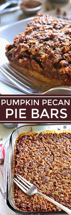 Pumpkin Pecan Pie Bars - the best of both worlds! These bars combine all the flavors of BOTH pies on a delicious shortbread crust. Because why choose between the two if you don't have to?