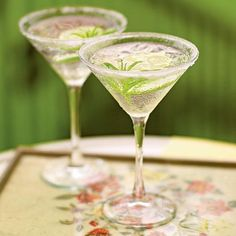 Lemon Verbena Gimlet Cocktails | The tartness of lime juice and the herbal freshness of verbena both make this cocktail taste light and refreshing. | CookingLight