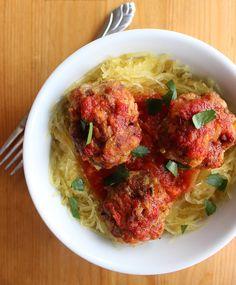 The Paleo Comfort Meal You'll Be Craving—Meatballs Marinara and Spaghetti Squash Spaghetti Squash Noodles, Sausage Spaghetti, Paleo Spaghetti, Squash Pasta, Spaghetti And Meatballs, Meatball Marinara, Paleo Recipes, Almond Recipes, Low Carb Recipes