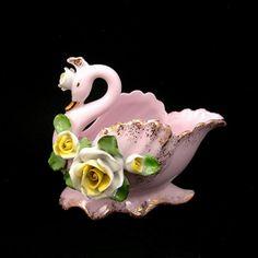 Lefton Swan Vase, Vintage Pink Swan Cachepot, Applied Roses, Cottage Chic Decor, Circa 1950, Swan Figurine