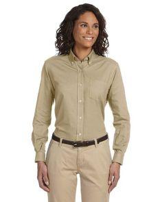 Van Heusen 59800 Womens LSleeve WriResistant Oxford  Khaki  XXLarge >>> Click image for more details.