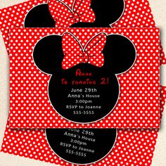 Minnie Mouse Birthday Invitation Girl  Red Black by pinkthecat, $12.99