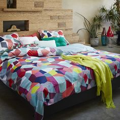 Bring bursts of bright colour to your bedroom with this Gitte duvet set from Essenza. Included in the set is a king size duvet cover and two pillowcases all crafted from wonderfully soft cotton sat...