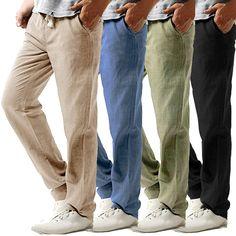 f154542af4b6 2019 летние мужские повседневные тонкие брюки Strandhosen льняные шланги  твердые дышащие брюки 2019 летние мужские повседневные