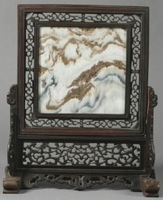 Table screen, China, 19th century, dream stone marble panel, carved rosewood frame
