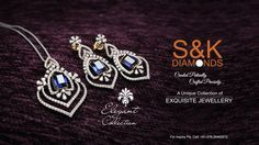 Exhilarating diamond pendant sets with lovely intricate design and a precious ‪#‎sapphire‬ ‪#‎gemstone‬ in the center of the pendant and earrings will give you the divine look. Elegant Collection ‪#‎SnKDiamonds‬ ‪#‎Ahmedabad‬