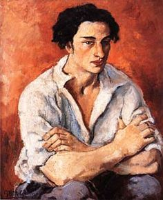 """""""Portrait of a Young Man"""" by Amrita Sher-Gil, 1930"""
